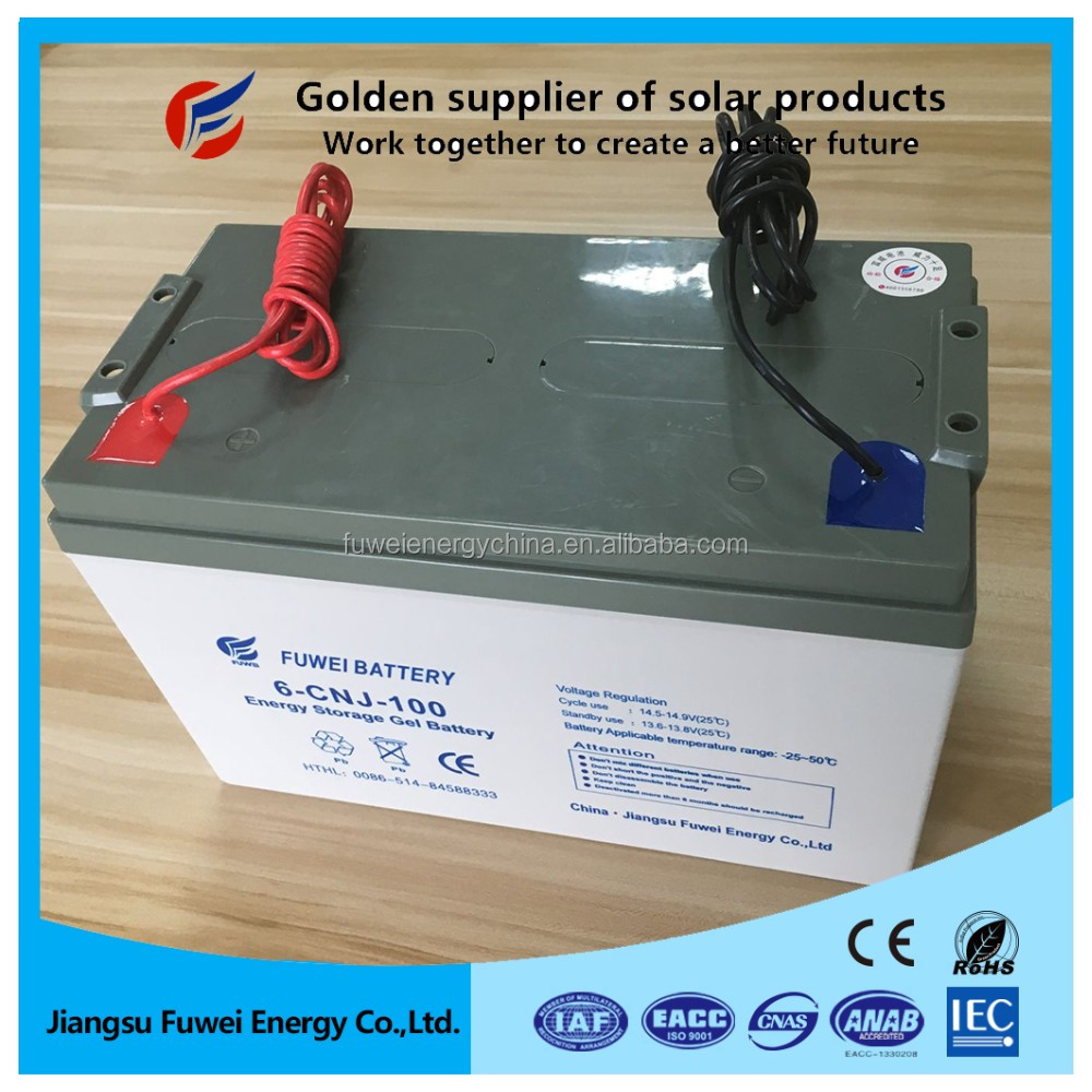 Low discharge VRLA sealed deep cycle 12V 100Ah lead acid battery for solar panel system