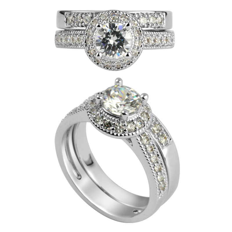 1.0 carat bridal set wedding ring set 925 sterling silver ring set