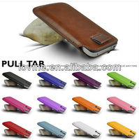 PULL TAB leather Pouch COVER CASE For SAMSUNG I9500 GALAXY S4