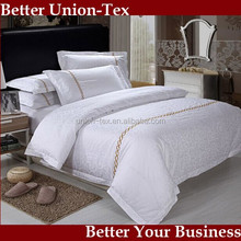 TC300 100% cotton jacquard roll flower white hotel bed linen with embroidery