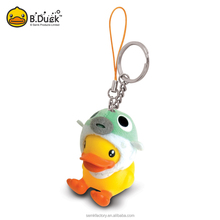 B.Duck plastic soft pvc material promotional 3D key chain