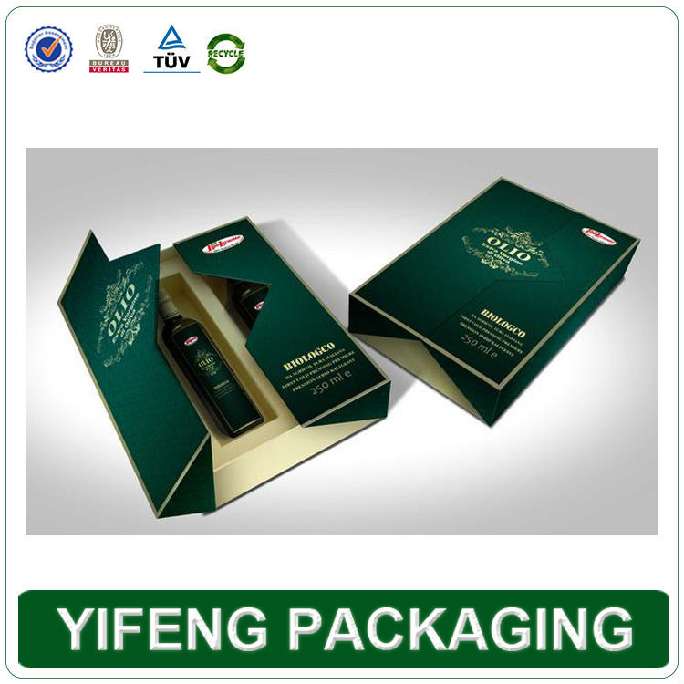 custom printing middle flap creative design olive oil packaging paper box