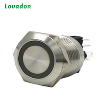 IP67 Dia 22mm led type Ring illuminated momentary waterproof stainless steel metal 5A 250VAC pushbutton push button switch