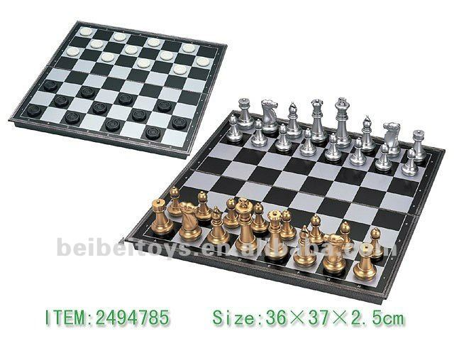 Magnetic Folding Chess & Checkers, Gold & Silver Pieces