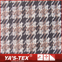 China alibaba abrasion resistant jacquard 4 way spandex terylene houndstooth printed fabric for wholesale