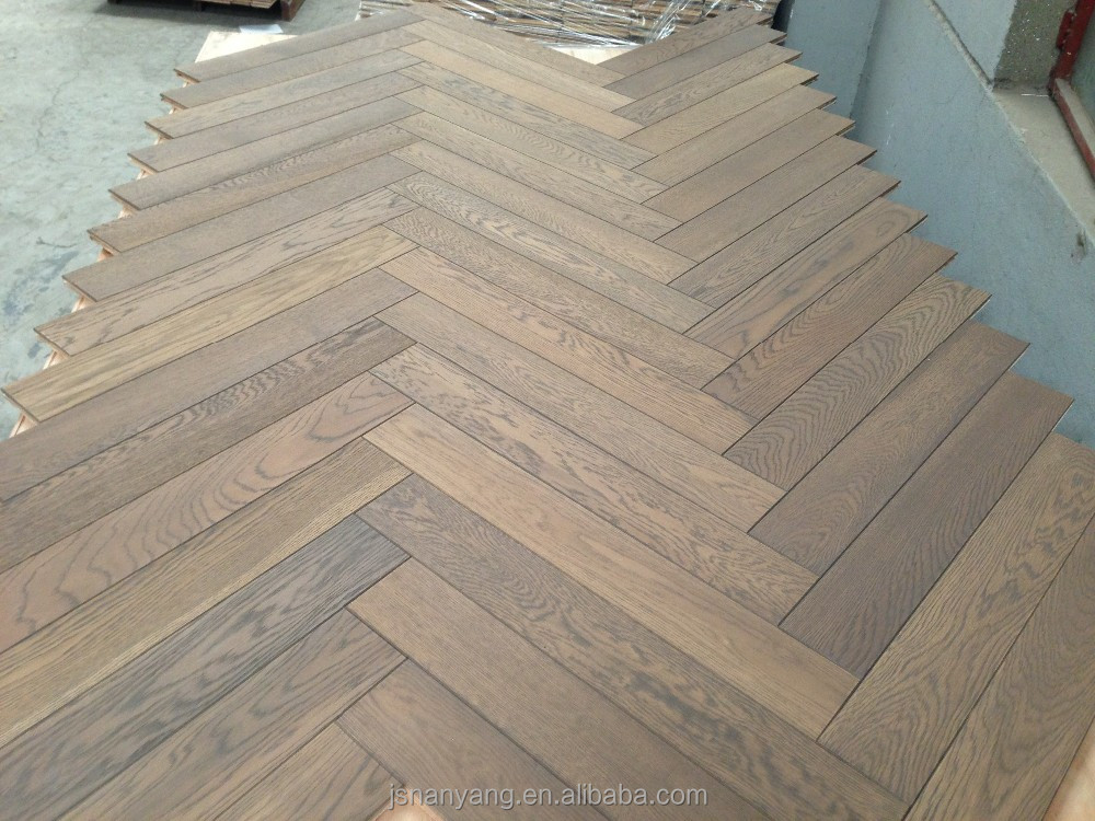 Abrasion resistance oak smoked fishbone parquet wood tiles