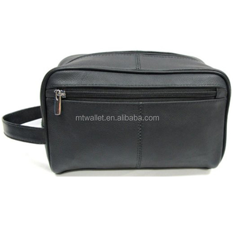 Black Genuine Leather Men's Toiletry Travel Bag / Leather Toiletry Bag for Travel / Leather Travel Pack Bags