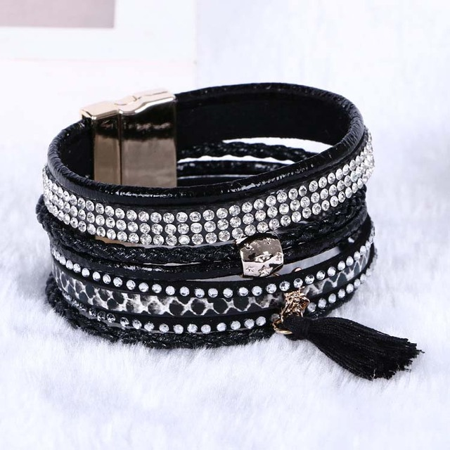 Multilayer Leather Bracelets For Women 2016 rhinestone crystal Bracelets Tassel magnetic Bracelets& Bangles  Bohemian
