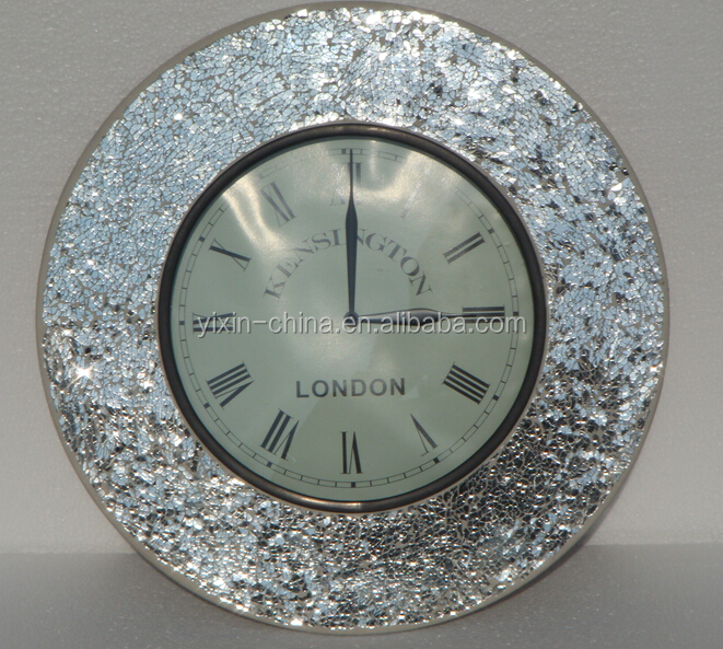 Round Wall Clock Cheap Tempered Mosaic Glass Wall Clock