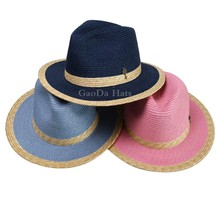 Fahion bright color cheap paper braid straw panama hat