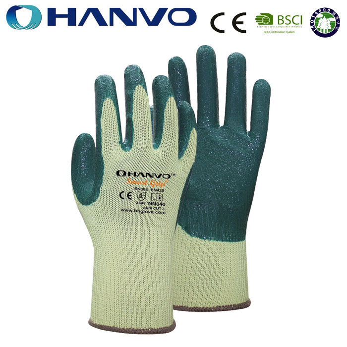 HANVO Heavy Duty Hand Safety Kevlar Nitrile Coated Gloves