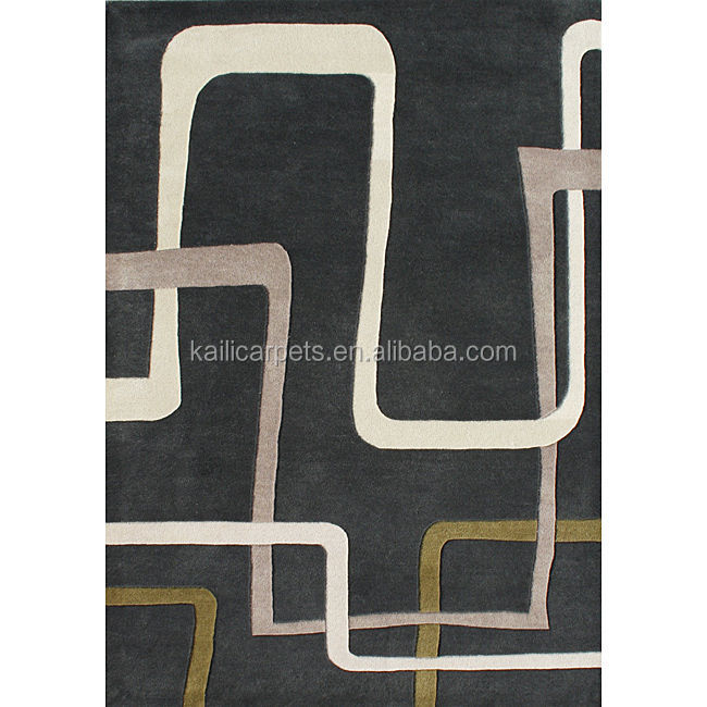 8'x10' Handmade Black New Zealand Blend Wool Carpet