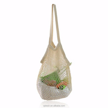 Qetesh Natural Color Cotton Shopping Fruit Mesh Net Grocery Bag With Handle