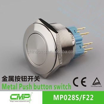 CMP 28mm metal waterproof 2NO2NC dpdt momentary push button switch