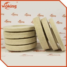 Wool felt disc for metal glass products