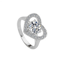 Gemnel Jewelry cheap 18k white gold diamond heart shape wedding rings