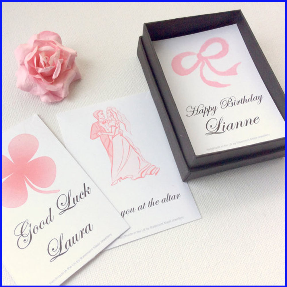 Personalised message cards and box