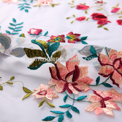 embroidered lace flowers designer hand multi color iran lace embroidery fabric
