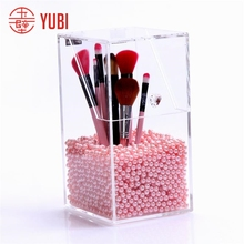 acrylic makeup brush holder with lid