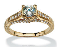 1.02 TCW Round Cubic Zirconia 10k yellow gold plated ring price