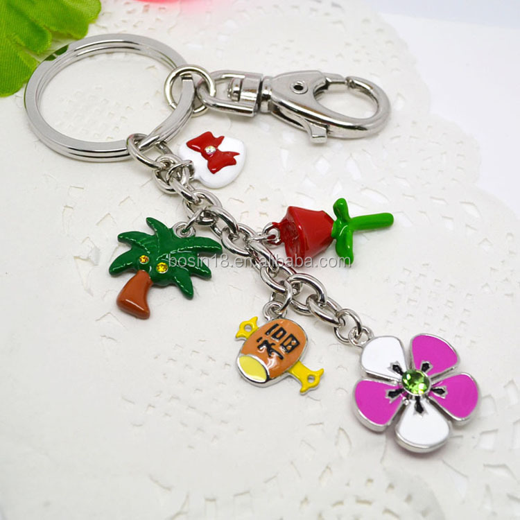 2015 Summer promotion gifts ladies fancy rose flower key chain #19616