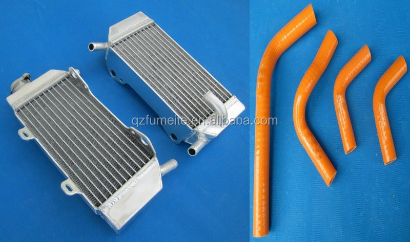 Aluminum Radiator & Blue Hose for Kawasaki KXF450 2010 2011 2009 10 11 09