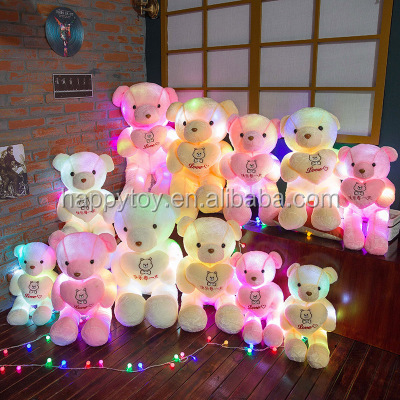 HI best valentine's day gift custom valentine plush led light teddy bear with heart for lovers