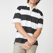 customize brand t-shirts <strong>100</strong>%cotton oversized short sleeve striped polo blank shirts men