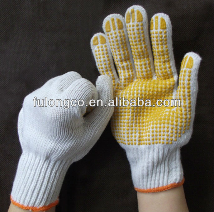COTTON SHELL WITH BLACK PVC DOTS WORK GLOVES MEN' L