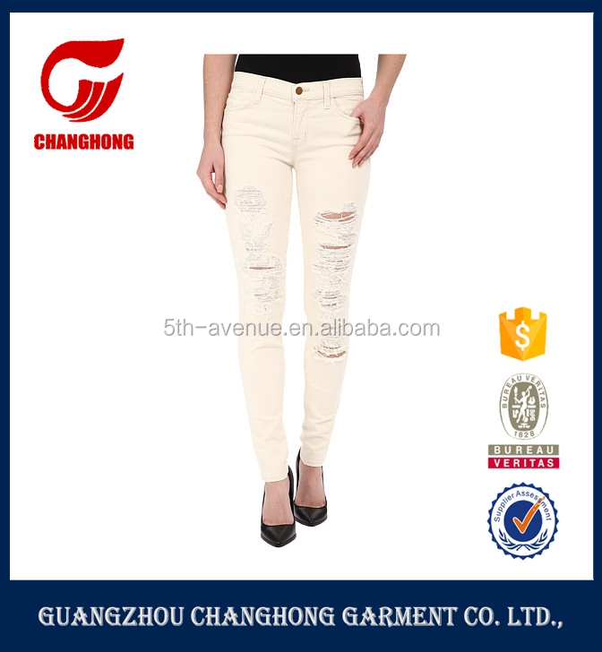 OEM Service Top Design Distress Ripped Jeans White Destroyed Sexy Skinny Women Demin Jeans for Trousers Garment