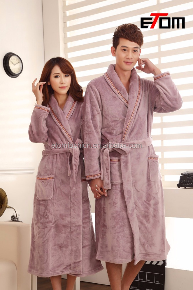 High Quality Fashion flannel Winter Men's bathrobe Women Robe Male night Gown Robe Big Size Lovers Sleepwear Thick Warm j0545