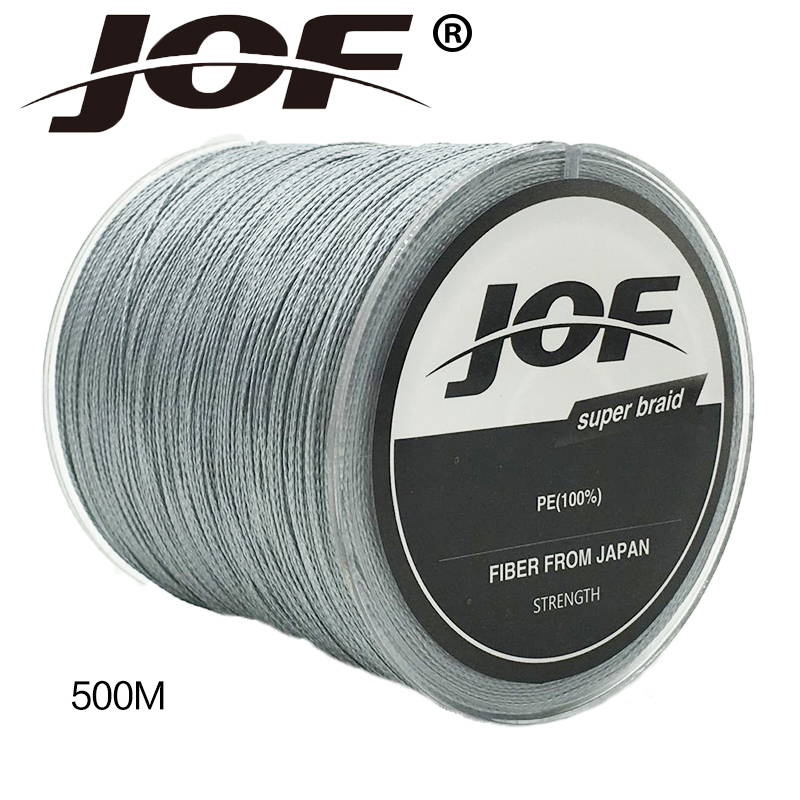 JOF Brand 500M <strong>PE</strong> Braided Fishing Line 4 stands 4LB-150LB Multifilament Fishing Line