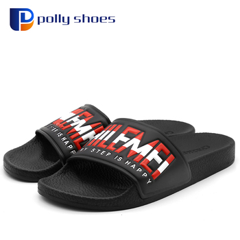 2017 Promotional OEM Logo New Fashion Outdoor PU Man Slipper