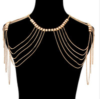 Original Design Alloy Silver Plated Tassel Shoulder Body Chain Jewelry Wholesale
