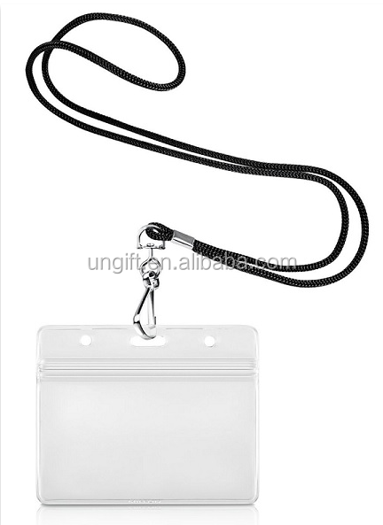"Waterproof Type Clear Plastic Horizontal Name Tag Badge ID card Holder with 1/8"" Round Braided Cord Lanyard Included Paper Name"