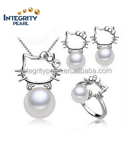 fashion Cytherea set of pearls, 925 silver freshwater pearl necklace and earrings ring jewelry set for women gift
