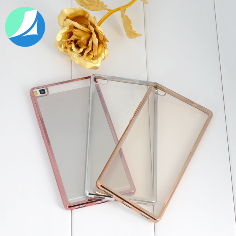 electroplating transparent tpu case for huawei p8 lite back cover