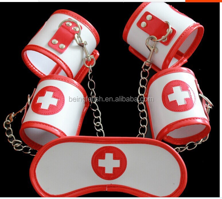 Hot Leather BDSM Female Bondage Restraints Set Japanese Nurse Red Suit Apparatus Handcuffs and leg ironsgoggles
