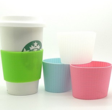 Logo printed disposable cup sleeve Eco Cup Silicone Lid & Sleeve Plastic Coffee mug Silicone Cup Sleeve For Coffee