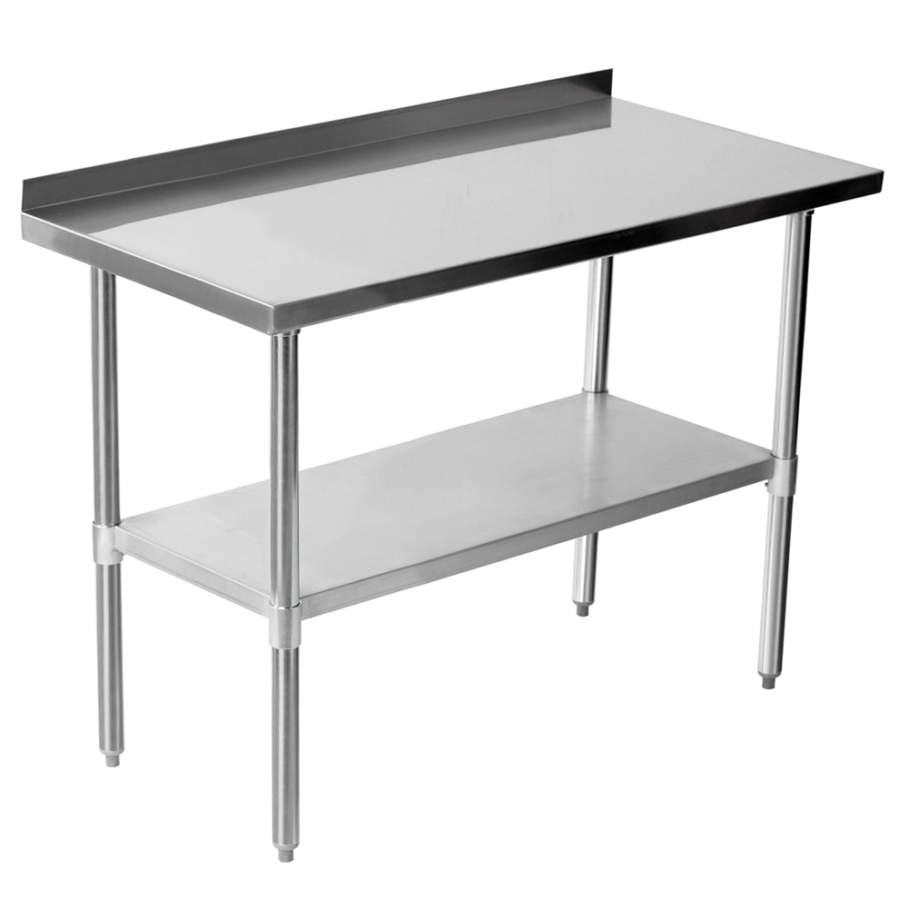 OWNFIT US Style Worktable Undershelf Work Table With Backplash Stainless Steel Work Bench