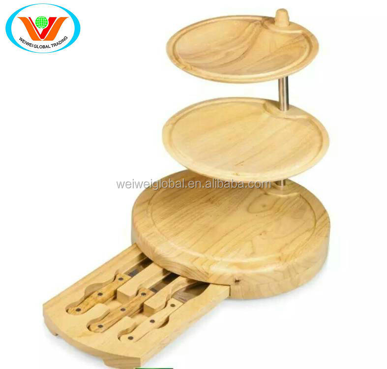3 layerd wood cheese knife board serving set