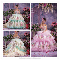 FL-0005 Coloured Wedding Dress With Flower Decoration Luxurious High Quality