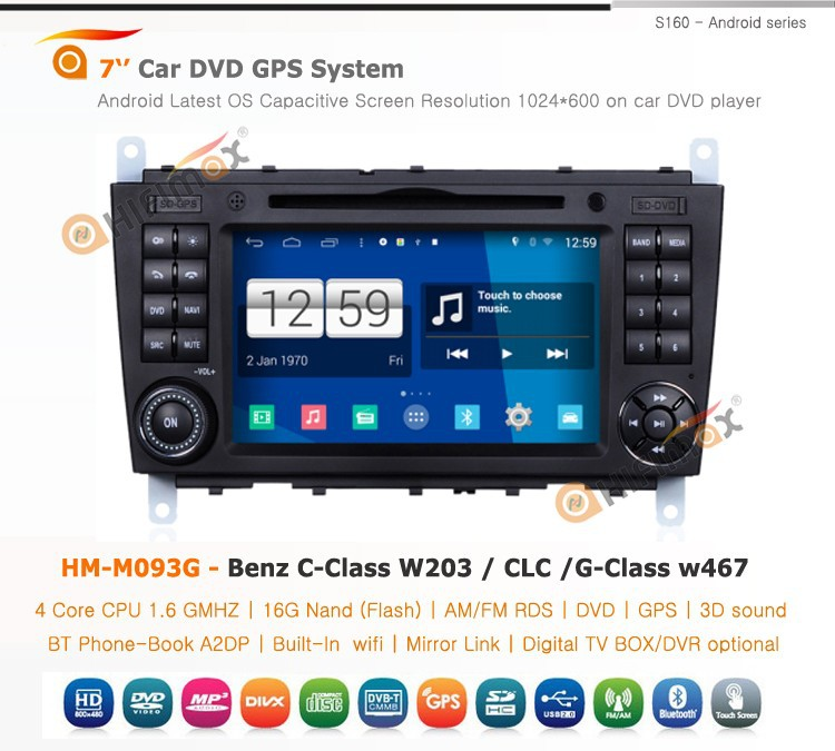 HIFIMAX Android 4.4.4 Car Radio For G-Class w467(2004-2008) For Mercedes Benz C-Class W203 (2004-2007) Navigation Car DVD Player