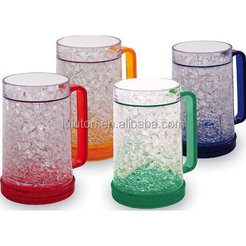 double wall frosty gel plastic freezer beer mug with handle