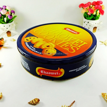 Food grade 4c prinitng big metal airtight round biscuit tin box