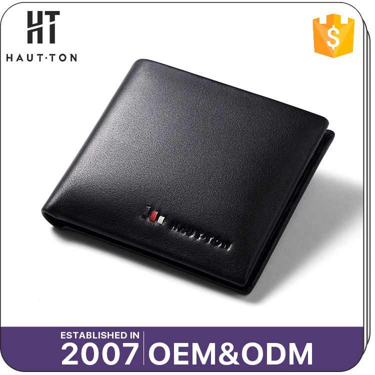 HAUTTON Fashion Man Black Mini Card Wallet Purse High Quality Waterproof Travel Top Leather Men Wallet