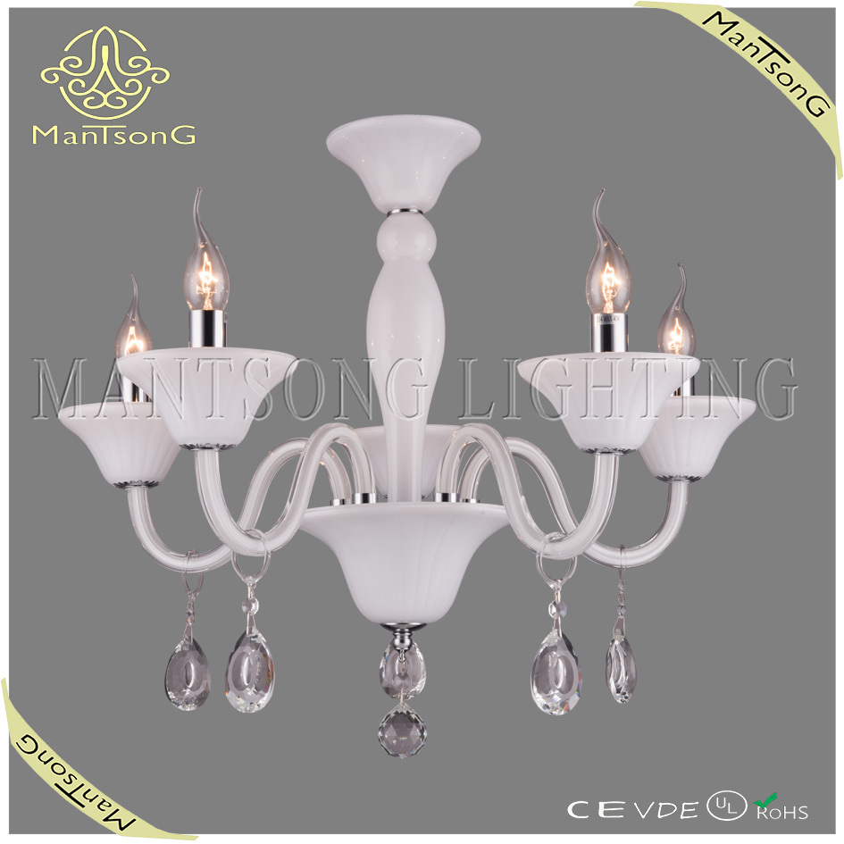 Chrome plated white candle chandelier, 5lights glass chandelier E14