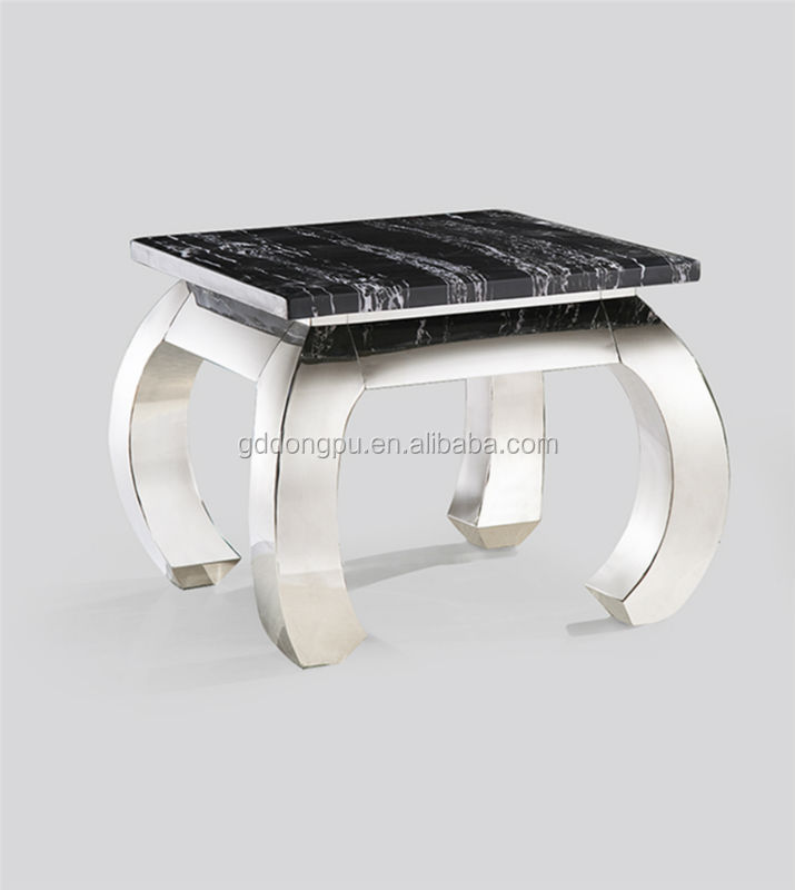 modern design square shape high gloss black stainless steel side table F45