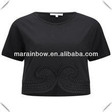 black 100% cotton women's embroidered cropped jersey t shirt
