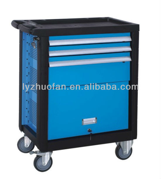 3 drawers medium luxurious tool trolly with door